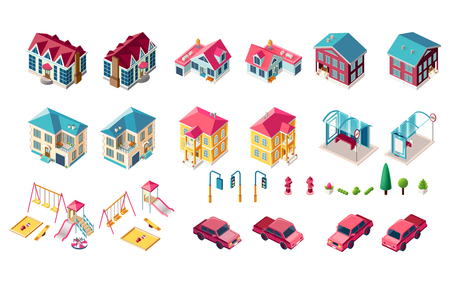 Set vector isolated isometric illustration country house vacation home, penthouse, bus station public transport stop car fire hydrant right left view playground traffic lights, trees city infrastructure