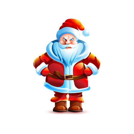 Stock vector illustration isolated character santa claus angry unhappy displeased sticker emoji hello congratulations happy new year merry christmas mascot design element white background