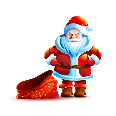 Vector illustration isolated character santa claus empty bag without gift present angry unhappy displeased sticker emoji happy new year merry christmas mascot design element white background. Ilustração