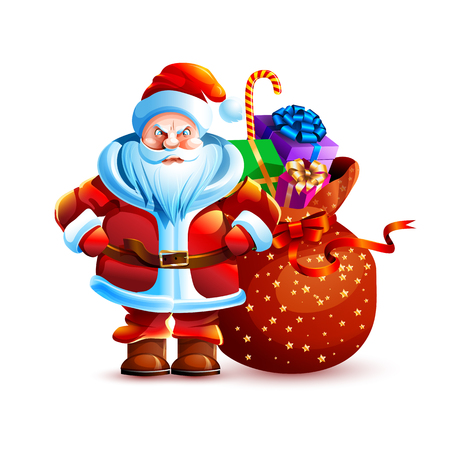 Vector illustration isolated character santa claus bag gift present angry unhappy displeased sticker emoji hello congratulations happy new year merry christmas mascot design element white background. Stock Illustratie