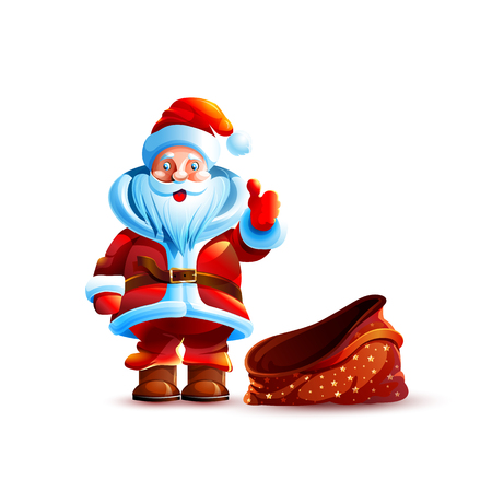 Vector illustration isolated character santa claus thumb up approval gesture smiling empty bag without gifts sticker emoji hello congratulations happy new year merry christmas mascot white background. Illustration