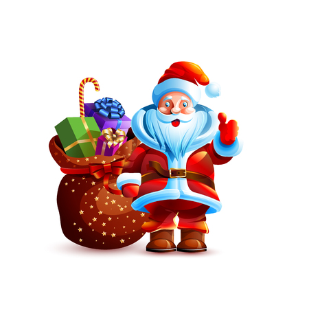 Vector illustration isolated character santa claus thumb up approval gesture smiling bag with presents gifts sticker emoji hello congratulations happy new year merry christmas mascot white background. Ilustracja