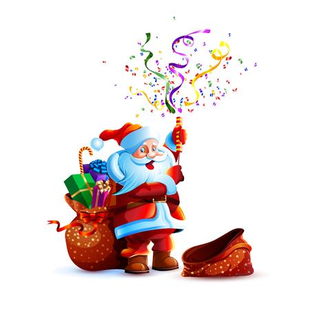 Vector illustration character santa claus present gift empty bag smile slapstick flapper petard confetti serpentine holiday sticker emoji happy new year merry christmas mascot design white background. Illustration