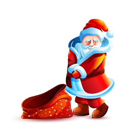 santa claus shy flirtatious and bag without gift Banco de Imagens
