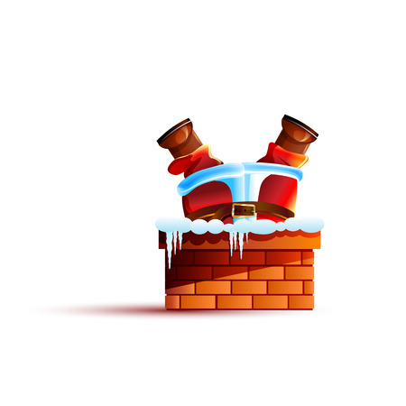 santa claus stuck upside down in the chimney 스톡 콘텐츠
