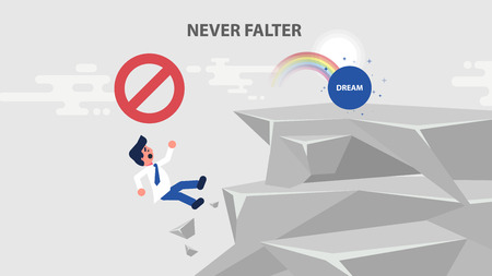Vector business challenge illustration businessman goes to dream, climbs up rock, achieve goal but never fall, break off cliff flies down, failure mistake error flat style motion design divided layers