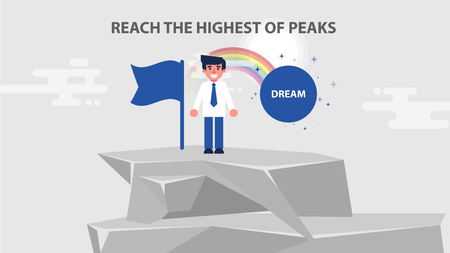 Vector challenge illustration business man managed climb to top career ladder fulfill dream achieve reach highest peak goal solved problem success fortune luck flat style motion design divided layers.
