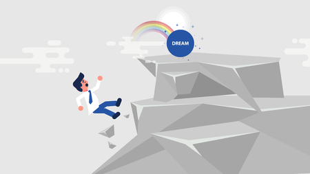 Stock vector business challenge illustration businessman goes to dream, climbs up rock, achieve goal but fall, break off cliff flies down, failure mistake error flat style motion design divided layers