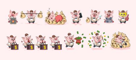 Zestaw ilustracji wektorowych czas na białym tle pieniądze gospodarka biznes kryptowaluta Bitcoin zarobki dochód korzyść zysk Emoji postać kreskówka świnia naklejki emotikony dla witryny infografika animacja wideo