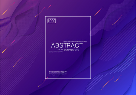 Stock vector abstract modern background Fluid shapes purple blue gradient geometric composition brochures cover A4 corporate identity style colorful design business template Eps10 for printed material. 일러스트