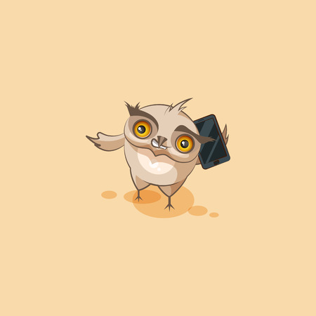 Vector Stock Illustration isolated Emoji character cartoon happy wealth riches owl sticker emoticon conducts business negotiations on smart phone for mobile app website infographic motion design.