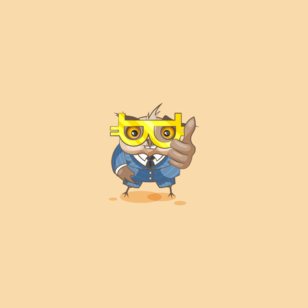 Vector isolated Emoji character cartoon happy wealth riches owl eagle-owl Owlet Howlet in business suit thumbs up sticker emoticon glasses cryptocurrency Bitcoin money profit dollar earning.