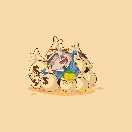Vector isolated Emoji character cartoon wealth riches owl eagle-owl Owlet Howlet in business suit sticker emoticon lies happy on bags money celebrates profits dollars earnings income salary.