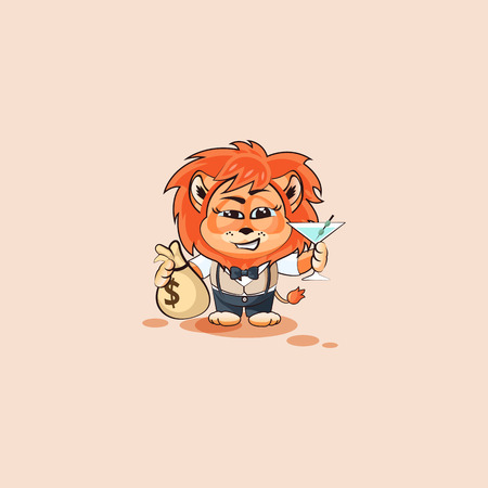 Vector Stock Illustration isolated Emoji character cartoon lion sticker emoticon with bag of money and glass martini celebrates happy profits dollars earnings income salary for site infographic video.