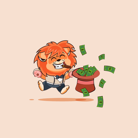 Vector Stock Illustration isolated Emoji character cartoon wealth riches lion sticker emoticon cigar jumping for joy with hat of money celebrate profit dollar earning income salary video infographic.