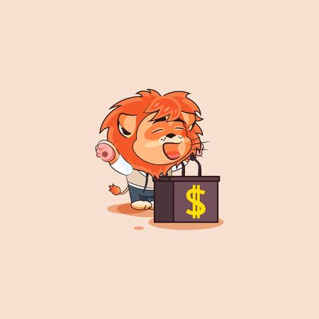 Vector Stock Illustration isolated Emoji character cartoon wealth riches lion sticker emoticon training presentation orator speaker behind podium speech about money profit dollar earning income