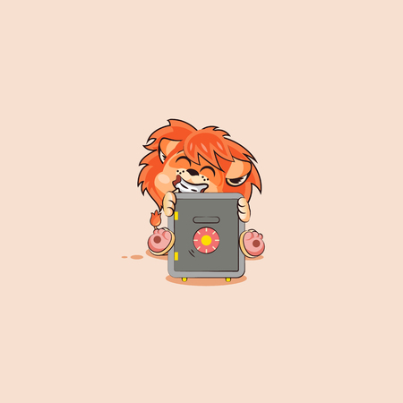 Vector Stock Illustration isolated Emoji character cartoon happy wealth riches lion sticker emoticon hugs safe with money celebrate profit dollar earning income salary video infographic motion design.