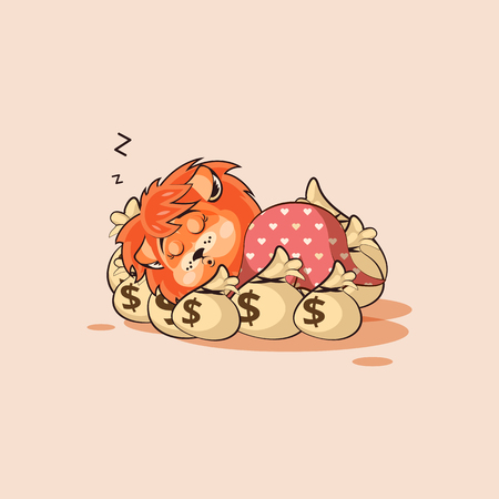 Vector Stock Illustration isolated Emoji character cartoon happy wealth riches lion sticker emoticon sleeps on bags money rest after profit dollar earning income salary video infographic motion design.