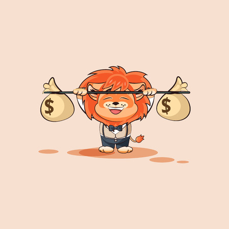 Vector Stock Illustration isolated Emoji character cartoon happy wealth riches lion sticker emoticon raises barbell with bags money profit dollar earning income salary video infographic motion design. Vektoros illusztráció