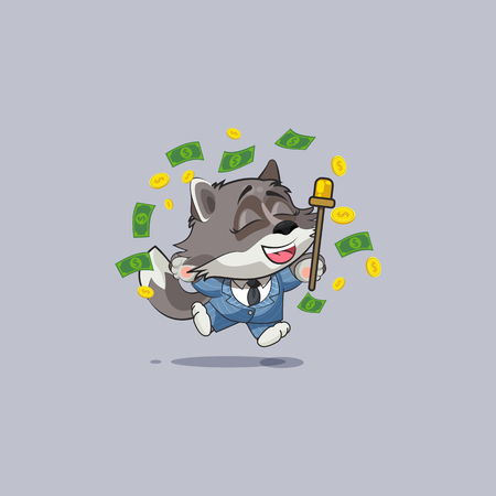 Vector Illustration isolated Emoji character cartoon happy wealth riches in business suit wolf cub pup sticker emoticon jump for joy money celebrate profit dollar earning income salary motion design.