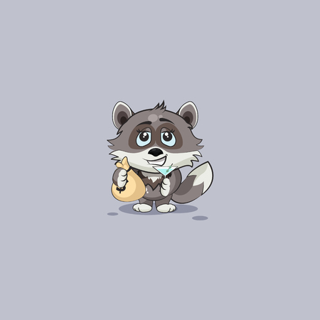 Vector Stock Illustration isolated Emoji character cartoon wolf cub pup sticker emoticon with bag of money and glass martini celebrates happy profits dollars earnings income salary infographic video.