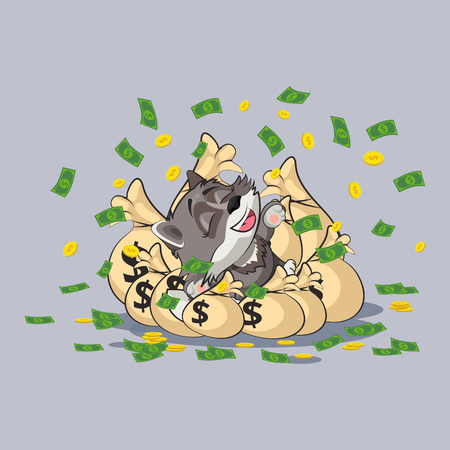 Vector Stock Illustration isolated Emoji character cartoon wealth riches wolf cub pup sticker emoticon lies happy on bags of money celebrates profits dollars earnings income salary infographic design.
