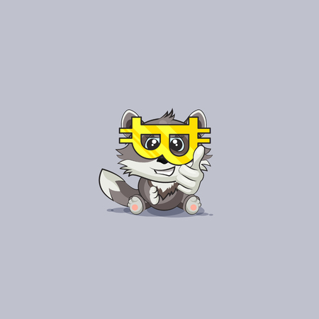 Vector Stock Illustration isolated Emoji character cartoon happy wealth riches wolf cub pup thumbs up sticker emoticon glasses crypto currency Bitcoin money profit dollar earning income infographic.