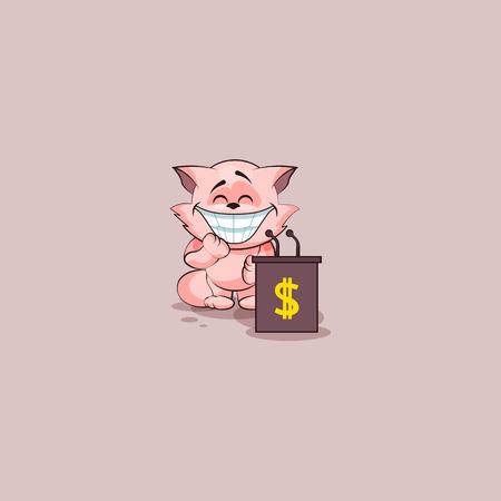 Vector Illustration isolated Emoji character cartoon wealth riches cat tomcat kitten kitty sticker emoticon training presentation orator speaker behind podium money profit dollar earning income Illustration