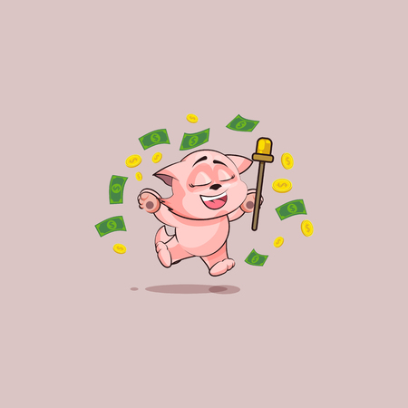 Vector Stock Illustration isolated Emoji character cartoon happy wealth riches cat tomcat kitten kitty sticker emoticon jump for joy money celebrate profit dollar earning income salary infographic. Illustration