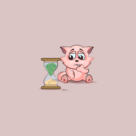 Vector Stock Illustration isolated Emoji character cartoon businessman sad cat tomcat kitten kitty sticker emoticon sits at hourglass money goes as sand, losses, cost, spending, expense, charges