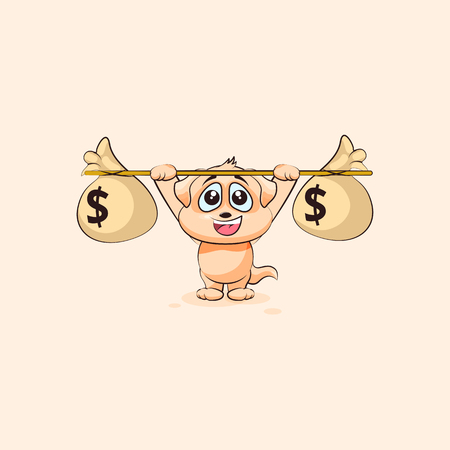 Vector Stock Illustration isolated Emoji character cartoon happy wealth riches dog cub puppy pup sticker emoticon raises barbell bags of money profit dollar earning income salary infographic element. Illustration