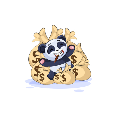 Vector Stock Illustration isolated Emoji character cartoon wealth riches panda bamboo bear Chinese symbol sticker emoticon lies happy on bags of money celebrates profits dollars earnings income salary.