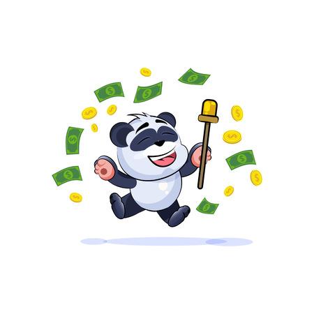 Ilustracji wektorowych Ilustracja izolowane Emoji charakter kreskówka szczęśliwy bogactwo bogactwo panda bambusa niedźwiedź Chiński symbol naklejki emotikon skakać z radości pieniądze świętować zysk dolar zarobki wynagrodzenia. Ilustracje wektorowe