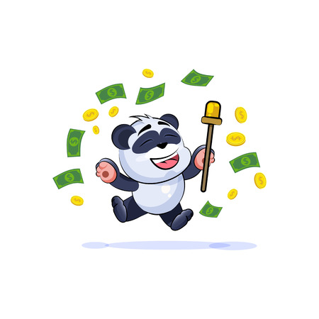 Vector Stock Illustration isolated Emoji character cartoon happy wealth riches panda bamboo bear Chinese symbol sticker emoticon jump for joy money celebrate profit dollar earning income salary.