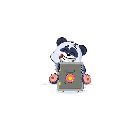 Vector Illustration isolated Emoji character cartoon happy wealth riches panda bamboo bear Chinese symbol sticker emoticon hug safe with money celebrate profit dollar earning income salary design.