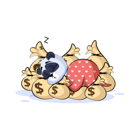 Vector Stock Illustration isolated Emoji character cartoon wealth riches panda bamboo bear Chinese symbol sticker emoticon sleep on bags money rest after profit dollar earning income salary design. Archivio Fotografico - 126088474