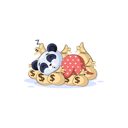 Vector Stock Illustration isolated Emoji character cartoon wealth riches panda bamboo bear Chinese symbol sticker emoticon sleep on bags money rest after profit dollar earning income salary design. Çizim