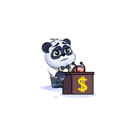Vector isolated Emoji character cartoon wealth riches business suit panda cub bamboo bear Chinese symbol sticker emoticon training presentation orator speaker behind podium money profit dollar earning.