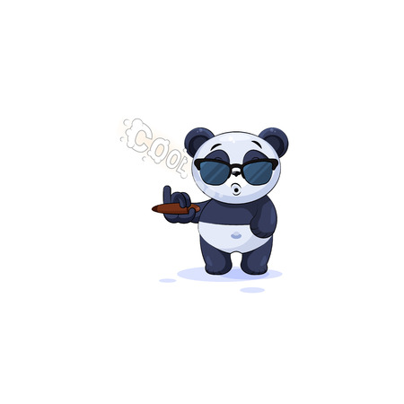 Vector Illustration isolated Emoji character cartoon cool happy life, successful wealth riches businessman panda bamboo bear Chinese symbol sticker emoticon and sunglasses smoking cigar smoke rings Иллюстрация