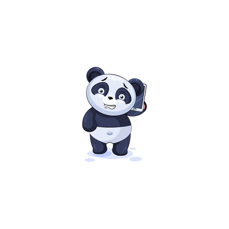 Vector Illustration isolated Emoji character cartoon happy wealth riches panda bamboo bear Chinese symbol sticker emoticon conducts business negotiations on smart phone for infographic motion design.