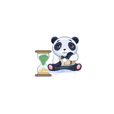 Vector isolated Emoji character cartoon businessman sad panda cub bamboo bear Chinese symbol in business suit sticker emoticon sits at hourglass money goes as sand losses cost spending expense charges.