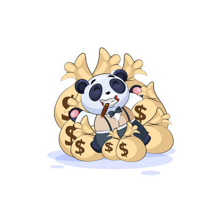 Vector isolated Emoji character cartoon wealth riches panda cub bamboo bear Chinese symbol in business suit sticker emoticon lies happy on bags money celebrates profits dollars earnings income salary.