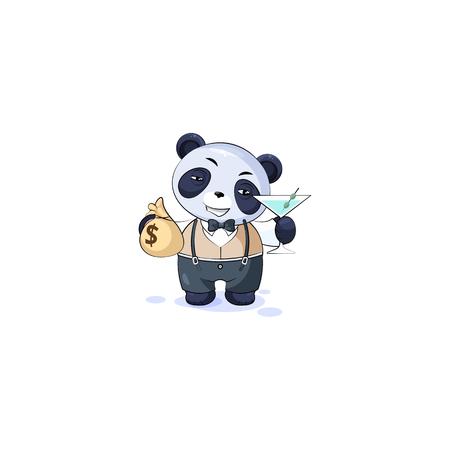 Vector Stock isolé Emoji personnage dessin animé panda ourson en bambou autocollant symbole chinois en émoticône de costume d'affaires avec sac d'argent, verre martini célèbre bénéfices dollars revenus revenu salaire Vecteurs