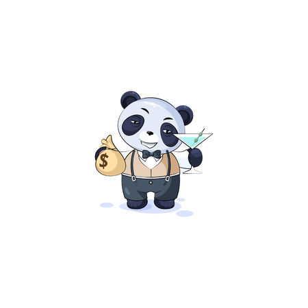 Vector Stock isolated Emoji character cartoon panda cub bamboo bear Chinese symbol sticker in business suit emoticon with bag of money, glass martini celebrates profits dollars earnings income salary
