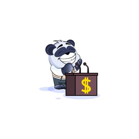Vector isolated Emoji character cartoon wealth riches business suit panda cub bamboo bear Chinese symbol sticker emoticon training presentation orator speaker behind podium money profit dollar earning. Illustration