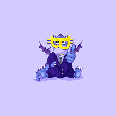 Vector isolated Emoji character cartoon happy wealth riches dragon cub reptile Creeper reptilian in business suit thumbs up sticker emoticon glasses cryptocurrency Bitcoin money profit dollar earning.