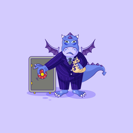 Vector Illustration isolated Emoji character cartoon wealth riches dragon cub Reptilian creeper in business suit sticker emoticon open safe to hide money celebrate profit dollar earning income salary.