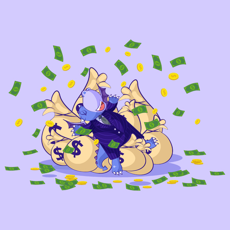 Vector isolated Emoji character cartoon wealth riches dragon cub reptile Creeper reptilian in business suit sticker emoticon lies happy on bags money celebrates profits dollars earnings income salary.