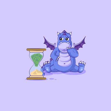 Vector Stock Illustration isolated Emoji character cartoon businessman sad dragon cub Reptilian creeper sticker emoticon sits at hourglass money goes as sand, losses cost spending expense charges