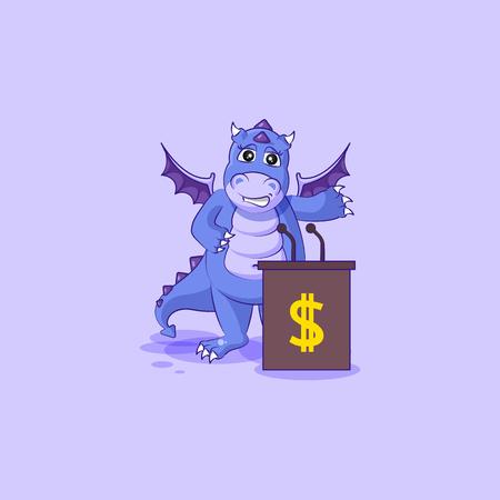 Vector Illustration isolated Emoji character cartoon wealth riches dragon cub Reptilian creeper sticker emoticon training presentation orator speaker behind podium money profit dollar earning